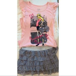 JUSTICE Sparkly Pink & Gray Ruffled Skirt Set